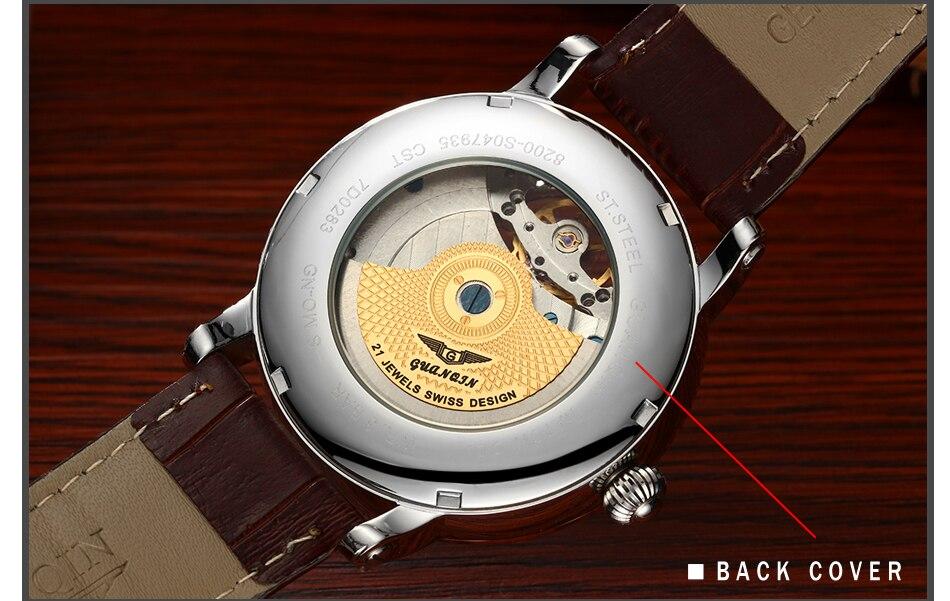 superior tourbillon relógio mecânico automático masculino casual