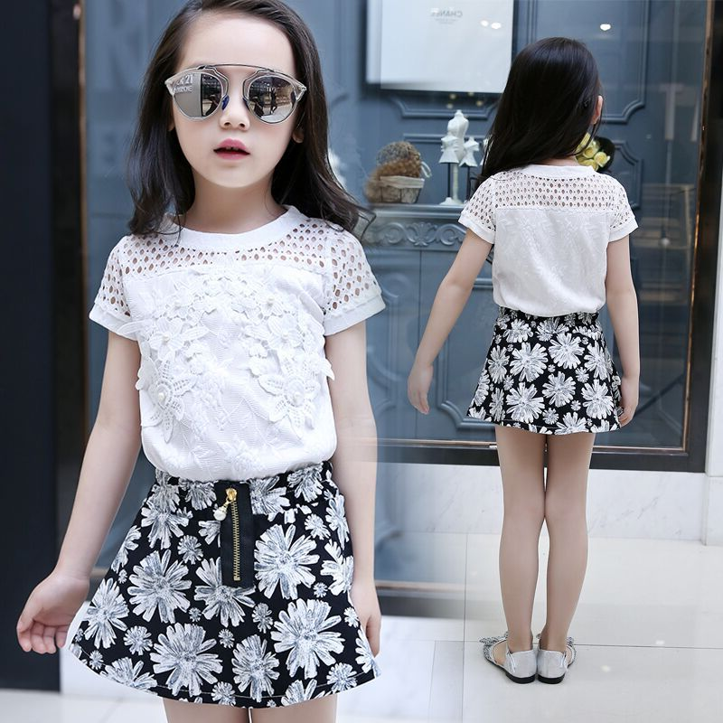 Kids Girls Clothing Sets Short Sleeve T-Shirt & Floral Print Skirts 2Pcs Summer Girls Outfits 2017 New Year Tees 3 5 7 9 11Years