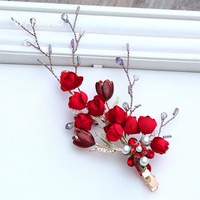 Vintage bridal tiara red rose fiore tornante accessori per capelli da sposa Cinese cheongsam accessori da sposa abito da sera HF0051