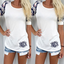 NEW Arrivals Summer Women Loose Pullover Floral T-Shirts Short Sleeve Cotton Top T-shirts