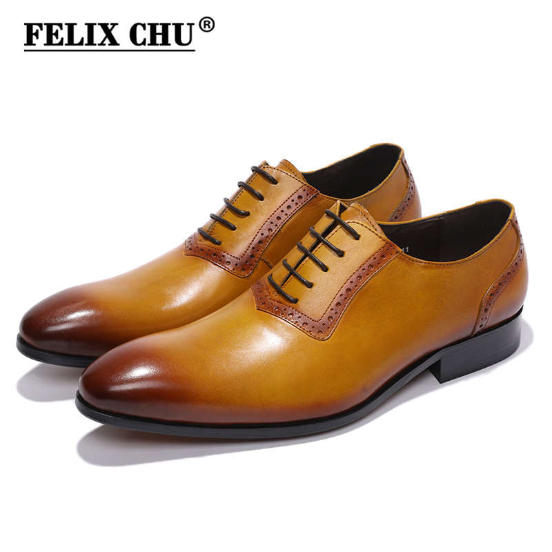 FELIX CHU Genuine Leather Mens Oxford Shoes Pointed Toe Lace Up Brown Business Office Footwear Male Dress Wedding Shoes #216-L46 hot sale mens genuine leather cow lace up male formal shoes dress shoes pointed toe footwear multi color plus size 37 44 yellow