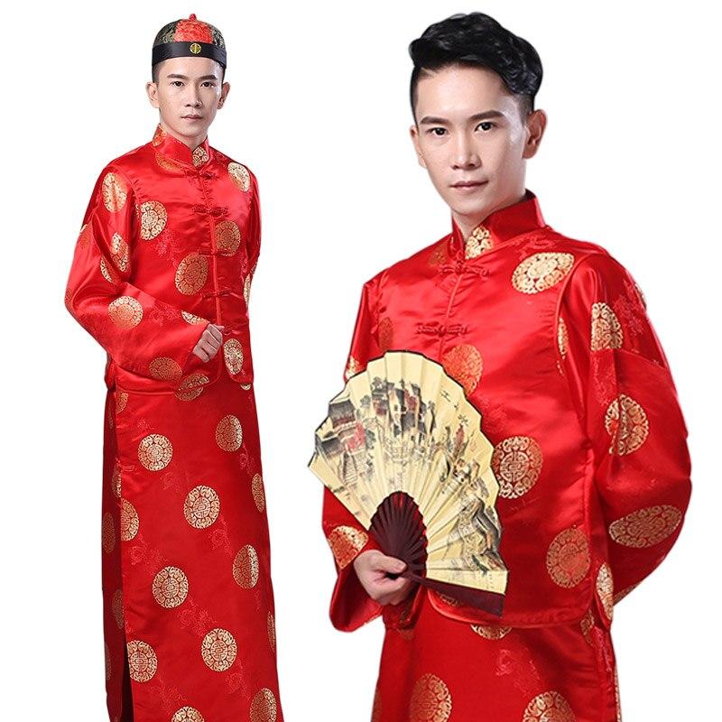 Китайской династии цин костюмированное шоу беллер жених groomsmen clothing сценические костюмы мужские хозяин красный clothing