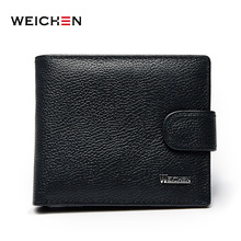 2017 wallet men 100% genuine leather wallets men Cow leather Wallets purse with coin pocket trifold wallet male clutch purse HOT