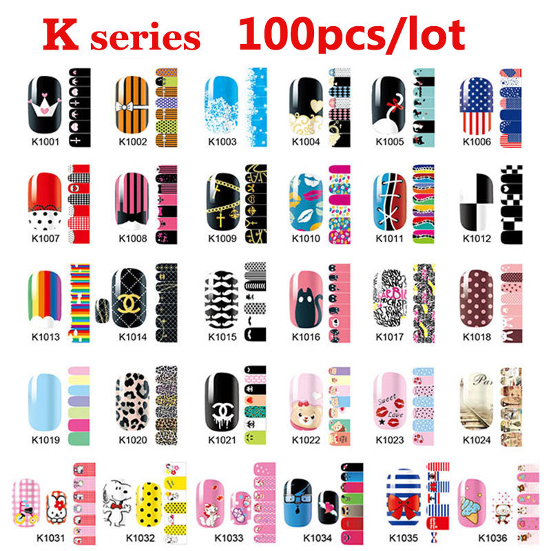 100pcs Hot Nail Art Patch Sticker Mix Designs Full Cover Adhesive Wraps DIY Accessories Wholesale In Stickers Decals From Beauty Health On