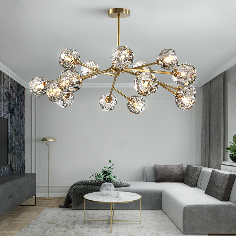Crystal Chandelier Living Room Lighting Decoration Pendant Lamp Dining Room Lamp 9/12/15/18 Heads Gold/Black With LED Bulbs