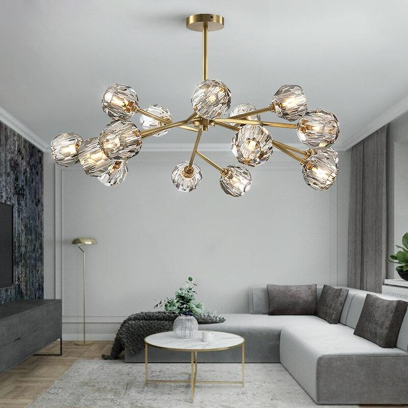 Lustre en cristal salon éclairage décoration suspension lampe salle à manger lampe 9/12/15/18 têtes or/noir avec ampoule LED
