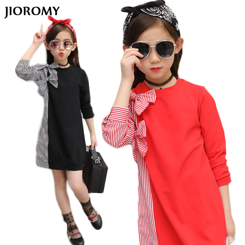 JIOROMY Big Girls Dress 2018 Autumn Newest Children's Clothing Bow Tie Stitching Stripes Shirt Long Sleeve Dress for Girls цена 2017