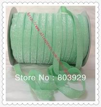 Stretch Metallic Headband Ribbon  Mint Sparkle Ribbon 3 8 Elastic Frosted Mint Glitter Velvet Ribbon