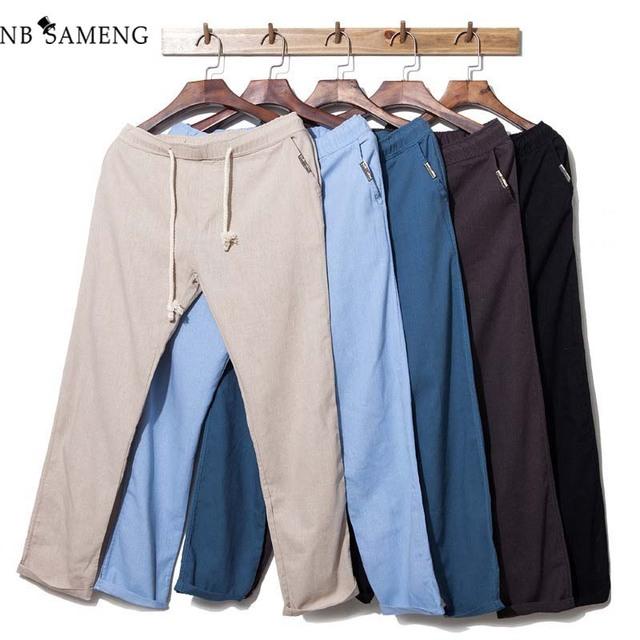 Los hombres de Algodón de Lino Pantalones Pantalones Flojos Ligeros Cordones Botín Ocasional Ropa de Los Hombres pantalones de Chándal Marca de Ropa