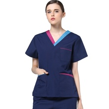 Womens Fashion Medical Uniforms Color Blocking V Neck Scrub Top or Set Pants Surgery Pure Cotton