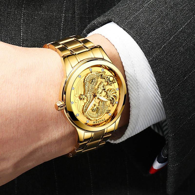 Dragon Gold Watch män klockor mode rostfritt stål Armbandsur 3D - Herrklockor - Foto 3
