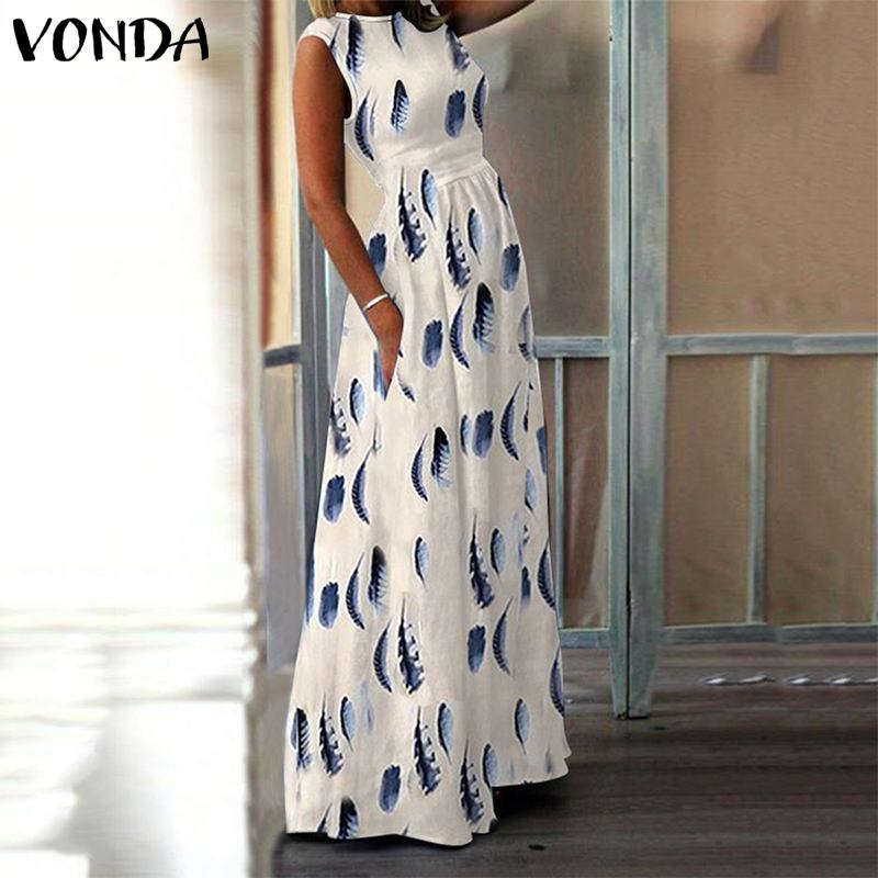 Summer Dress Womens Maxi Dress 2019 VONDA Fashion Female Casual O Neck Party Vestisos Sexy Dresses Printed Robe Femme Plus Size