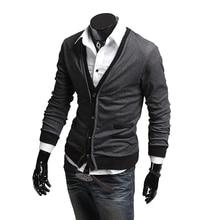 ZOGAA 2018 Men Cardigan Coat Dark/Gray/Black Fashion Simple Cotton Fake Pocket Zipper Wool Sweater M/L/XL