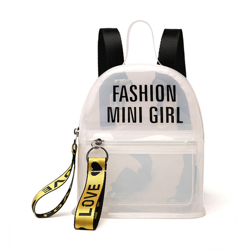 Women Backpack Hand-Bags Letter Transparent Female Waterproof Mini Fashion PVC Jelly