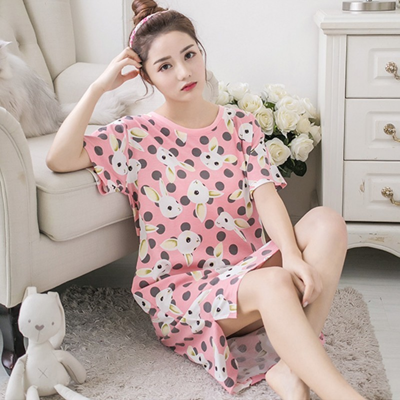 Factory sale 2018 new Summer Womens Loose Short sleeve Nightdress Cotton Sleepwear Ladies Comfortable Nightgown sweet Homewear