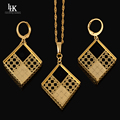 Sexy Italy Quality Golden Geometric Jewelry Set Real Gold Plated Trendy Exquisite Party Necklace Earring Jewelry Set For Women