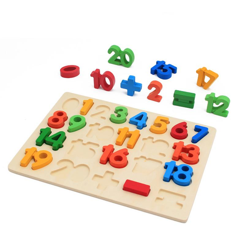 Colorful Wooden Math Puzzles Kids Preschool Teaching Toys Children Early Education Cognitive Development Toys Gift