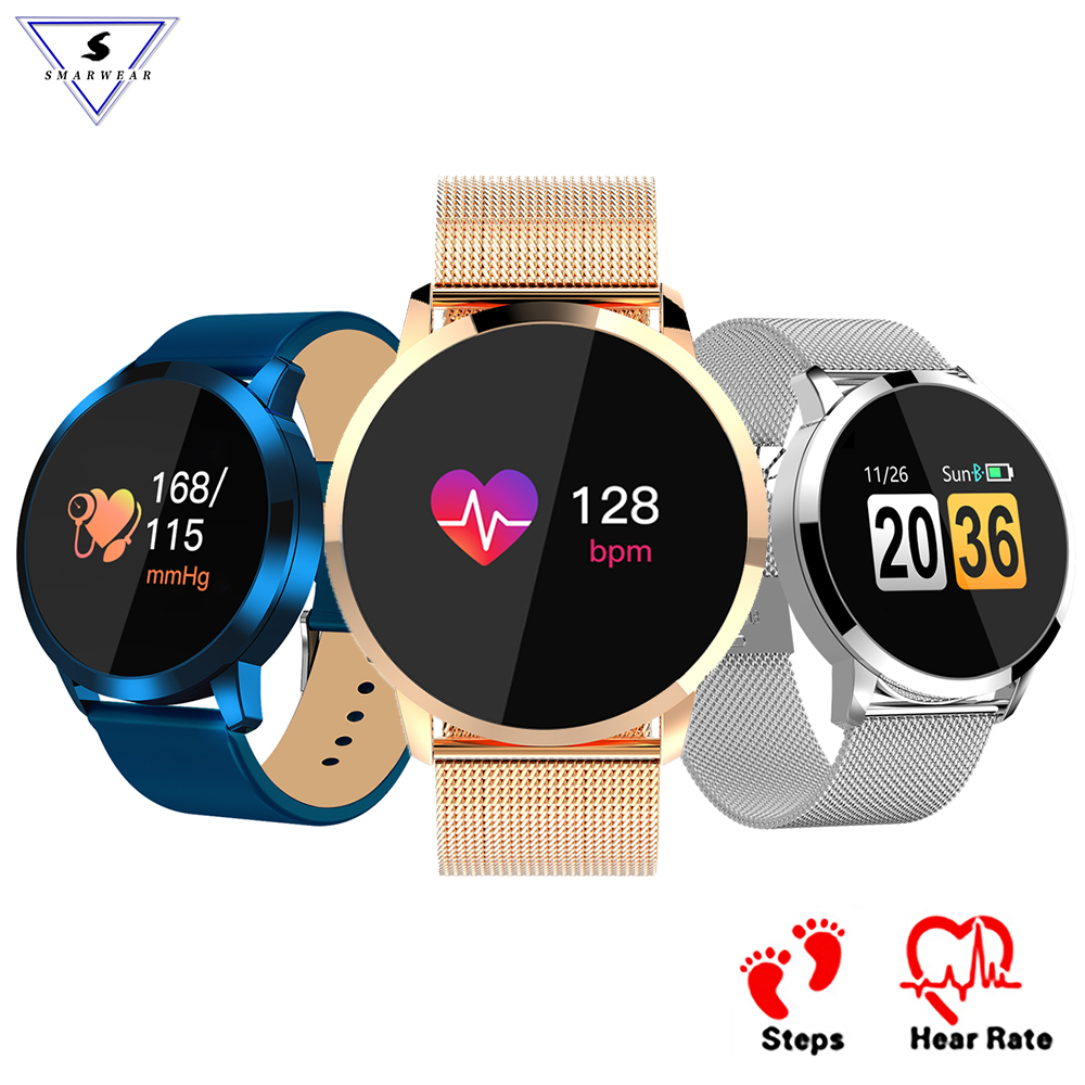 Q8 OLED Bluetooth Heart Rate Monitor Stainless Steel Waterproof Wearable Device Smartwatch Wristwatch Men Women Fitness TrackerQ8 OLED Bluetooth Heart Rate Monitor Stainless Steel Waterproof Wearable Device Smartwatch Wristwatch Men Women Fitness Tracker