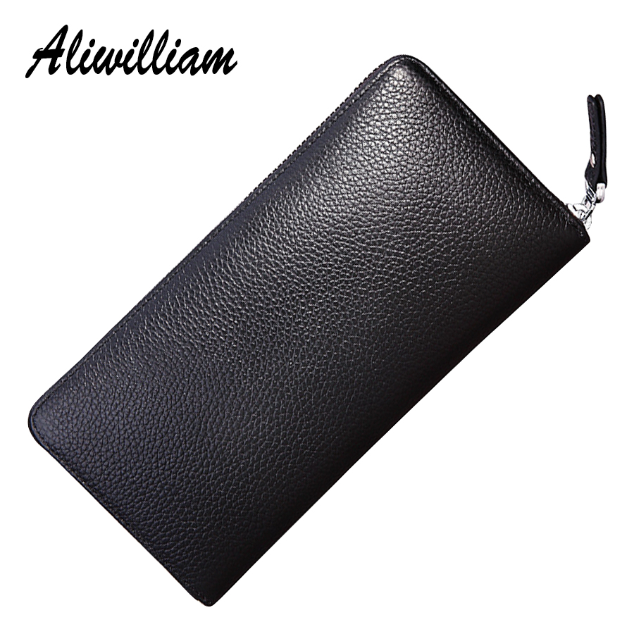Genuine Leather Zipper Long Men Wallet Card Holders Male Clutch Bags Coin Purse Male First Layer Of Leather Wallets For Phone men wallets luxury brand wallet genuine leather zipper purses coin pouch male clutch bag card holders change purse for women