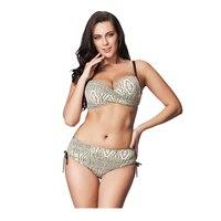 2017 New Arrival Snake Skin Print Bikini Set High Waist Swimsuit Women Plus Size Swimwear Retro