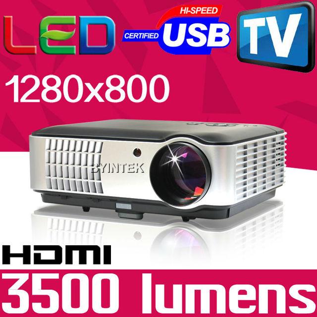 High Definition 3500Lumens WXGA full hd 1280x800 Home Theater Multimedia PC 1080P Mini Video HDMI USB LCD LED Projector TV Tuner
