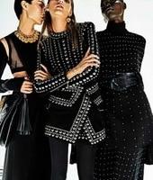 Newest Fashion 2018 Fall Winter Baroque Designer Runway Dress Women S Long Sleeve Metal Beaded Rivet
