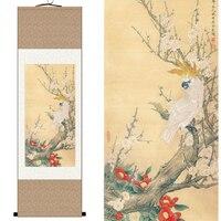 Çin Ipek suluboya çiçek ve kuşlar mürekkep Erik çiçeği papağan Açelya sanat tuval duvar resmi feng shui çerçeveli kaydırma boyama