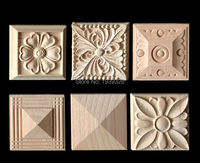 New 2 pcs Flower Wood Carving Natural Wood Appliques for Furniture Cabinet Unpainted Wooden Mouldings Decal Decorative Figurines