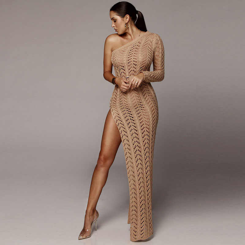 169c940ab6 ... Shoulder Knitted Maxi Party Sweater Dress Sexy Side Split Women Club  Wear Hollow Out Bandage Dresses Elegant Vestdios on Aliexpress.com |  alibaba group