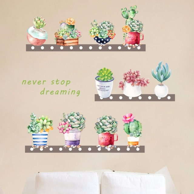 Succulent and Cactus Pot Wall and Window Stickers