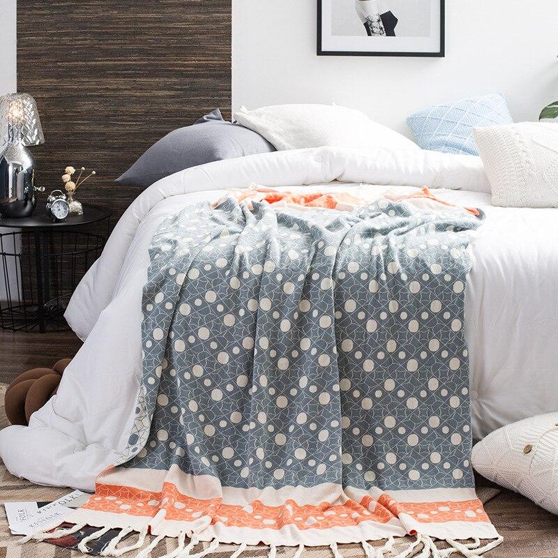 Nouveau motif géométrique tricot gland couverture pour lits doux 100% coton tricoté frangé couverture literie chaud et mignon sieste couvre-lit
