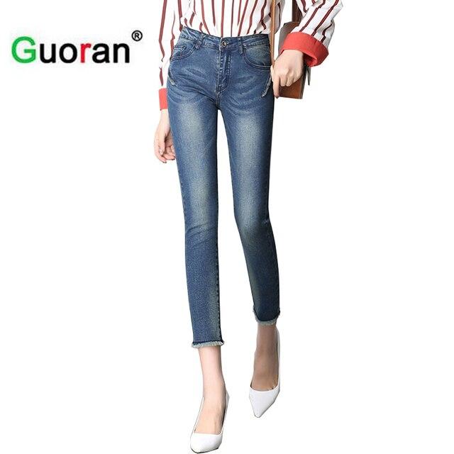 9a001d382de1  Guoran  très extensible femmes jeans capris pantalon blanc bleu déchiré jeans  leggings femme pantalon