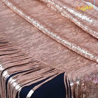 Rose Gold sequins fabric with tassel Embroidered Mesh Lace Fabric For Dresses Clothing Making/Sequin curtain/Backdrop Decoration