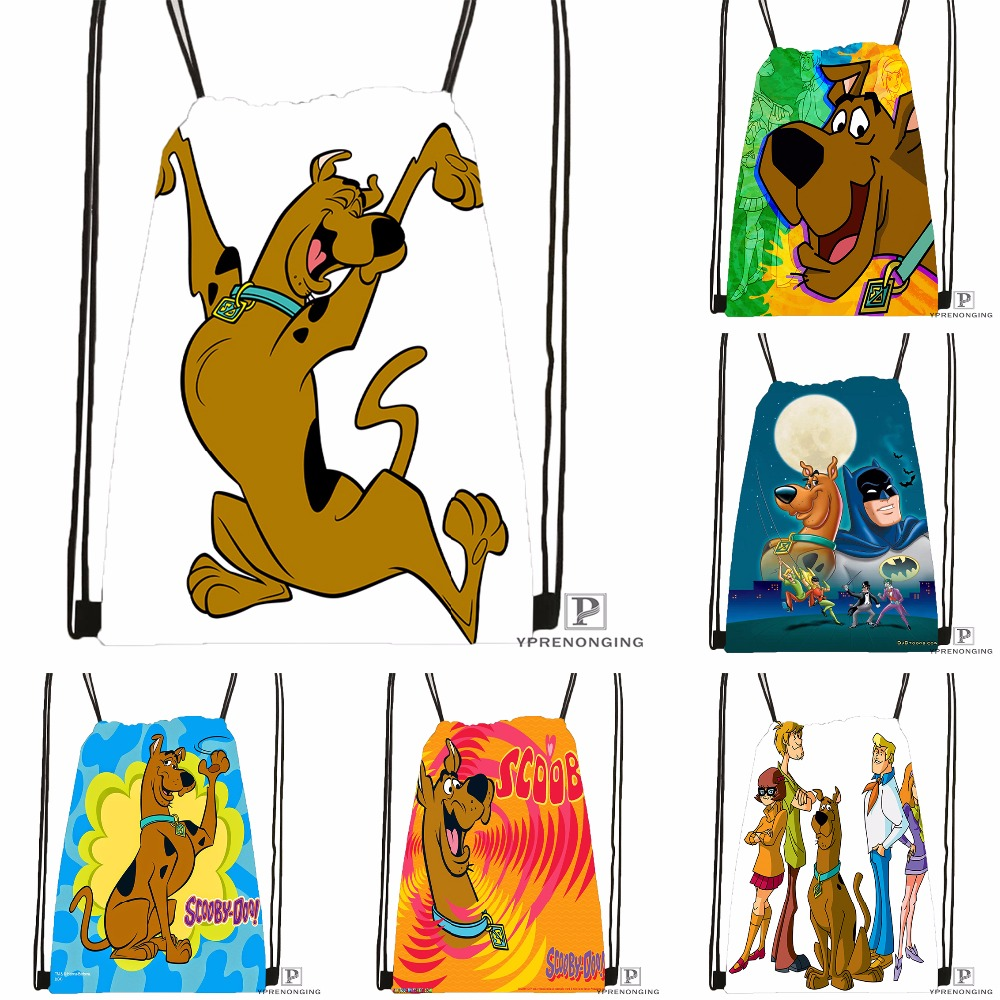 Custom HD Scooby Doo Drawstring Backpack Bag Cute Daypack Kids Satchel (Black Back) 31x40cm#180531-03-64