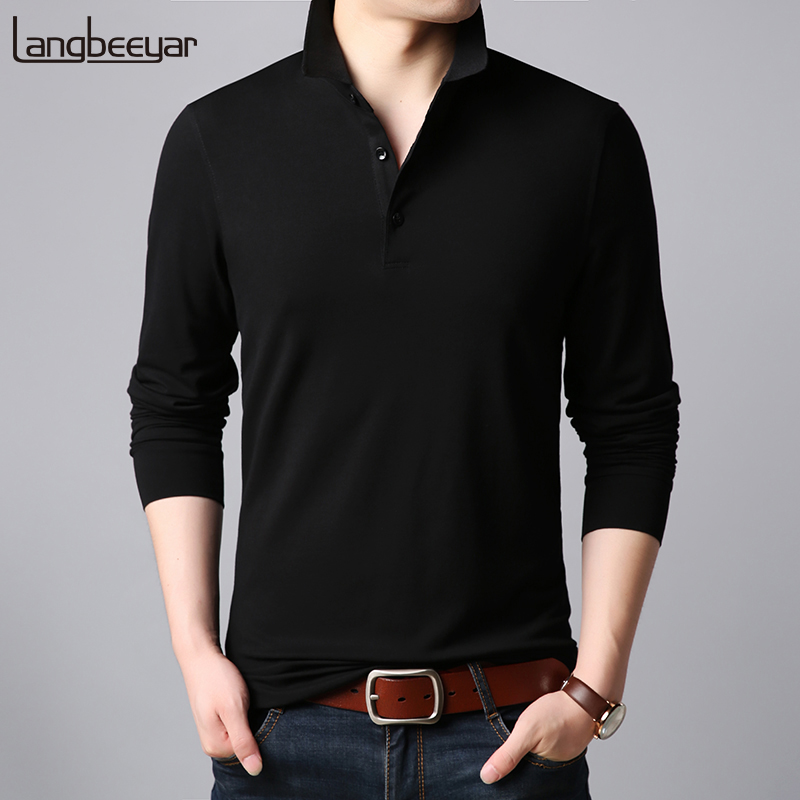 2019 New Fashion Brand Designer   Polo   Shirt Men Korean Slim Fit Long Sleeve Streetwear Cotton Poloshirt Casual Men's Clothing