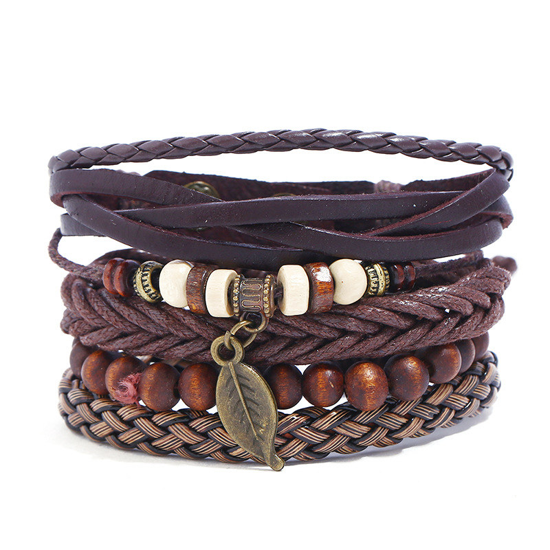 Retro Charms Beads Bracelet Men Punk Leaf Leave Braided Leather Wristbands Bangle Wrap Homme Jewelry