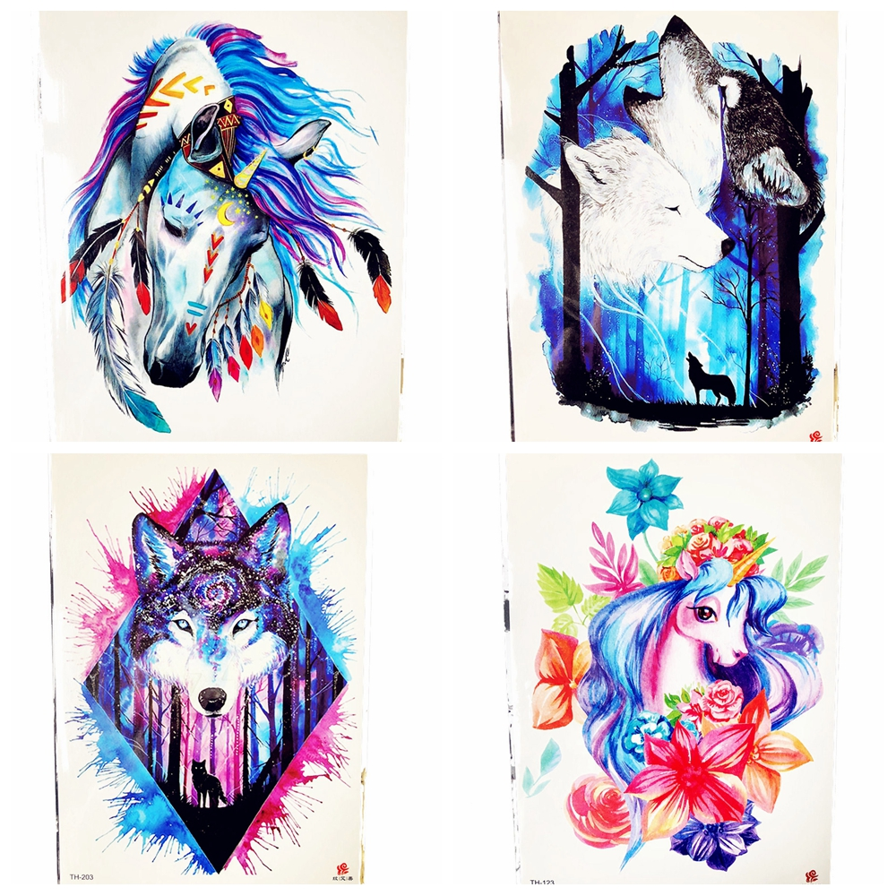 3D Fairy Tale India Tribal Unicorn Temporary Tattoo Horse Pony Men Colorful Feather Tattoo Sticker Women Body Art Tatoo Paste Щипцы