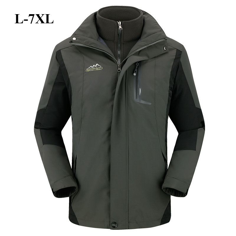 L-7XL Big Size Hiking Jackets Men Women Outdoor Ski-Wear 3 In 1 Lovers Two-Piece Fleece Big Yards Hunting Jacket Tactical Jacket