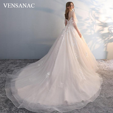 VENSANAC 2018 Sweetheart Ball Gown Lace Flowers Appliques Wedding Dresses Sequined Court Train Backless Bridal Gowns lovely tulle ball gown wedding dress 2019 new sweetheart lace appliques off shoulder court train princess church bridal dresses