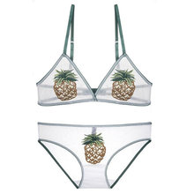 New Comfortable bralette Embroidered Pineapple Strawberry Wire Free Bra Thin Sexy Transparent and Panty Set Super Underwear