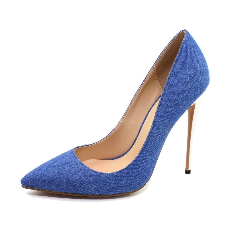 Women Pumps Super High Heels Party Shoes Denim Stiletto Sexy Jeans Shoes Spring Fashion Slip On Pointed Toe Blue Shoes SR-A0017