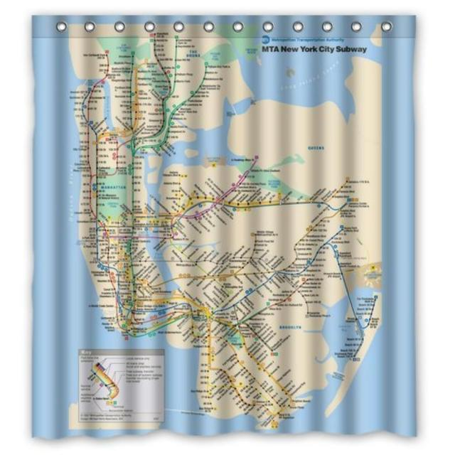 Custom New York City Underground Tube Subway Map Shower Curtain Waterproof Bathroom 36