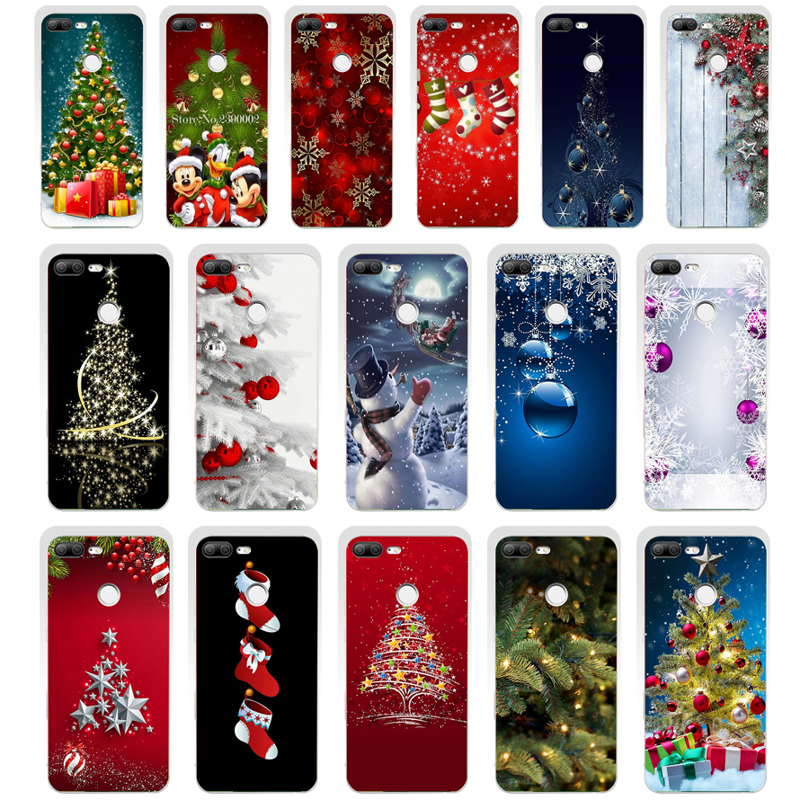 38SD Christmas holiday Tree New Year gift Soft Silicone Tpu Cover phone Case for huawei Honor 8 9 Lite 8X p 9 lite 2016 image