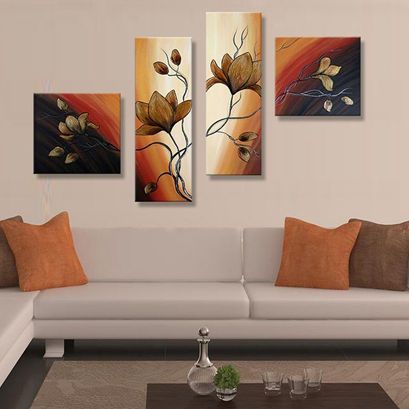 4 Panel Pictures Handpainted Graffiti Green Oil Painting