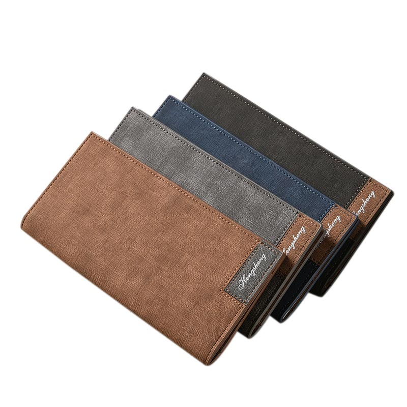 Men's Long Wallet Frosted Design Simple PU Leather Matte Wallets ID Credit Card Holder Soft Purse BS88 portable 120 cards pvc matte antimagnetic leather business name id credit card holder keeper organizer book