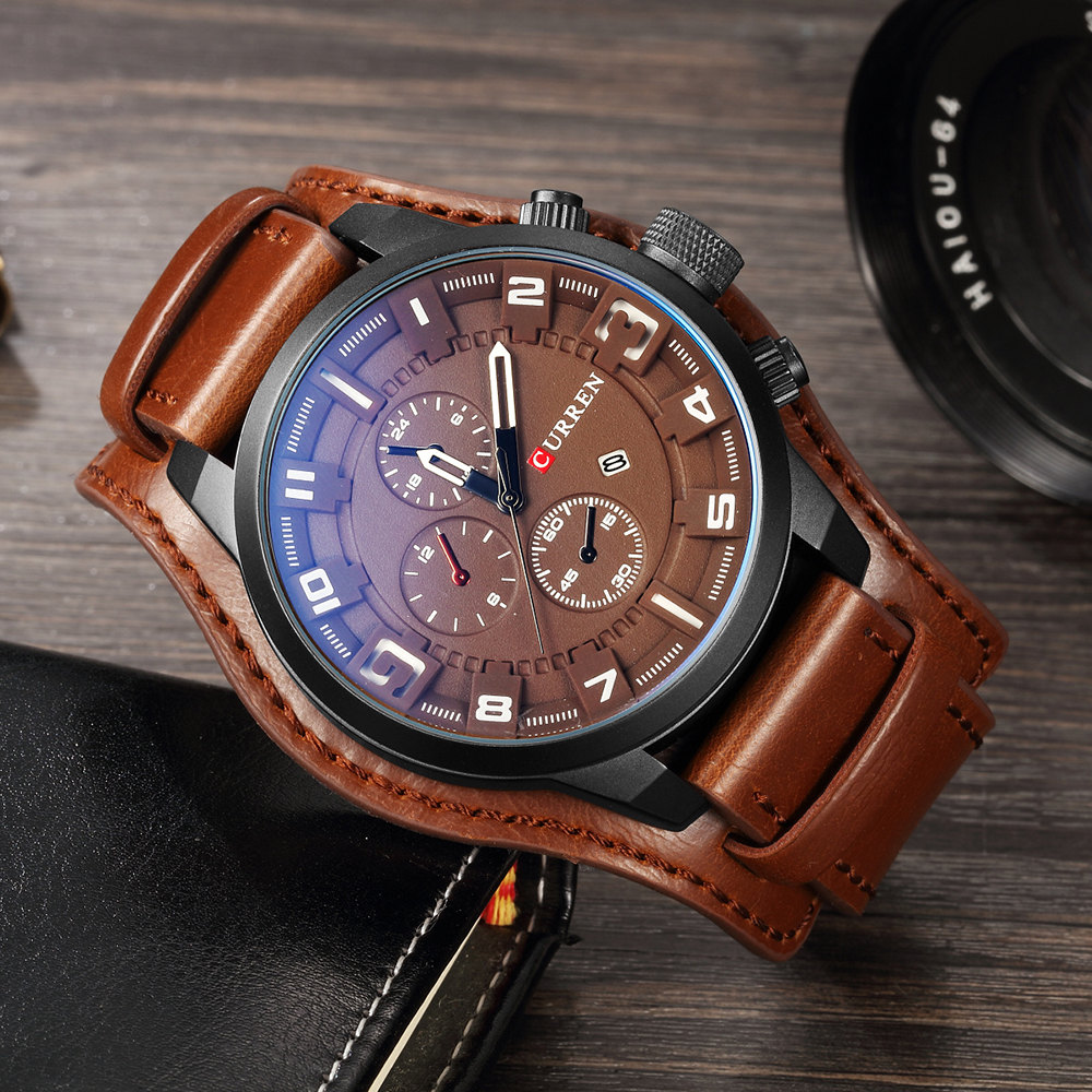 CURREN Leather Strap Army Military Steampunk Male Watch Men Luxury Mens Watches Quartz Clock Men's Watch 2019 Sports Relojes(China)