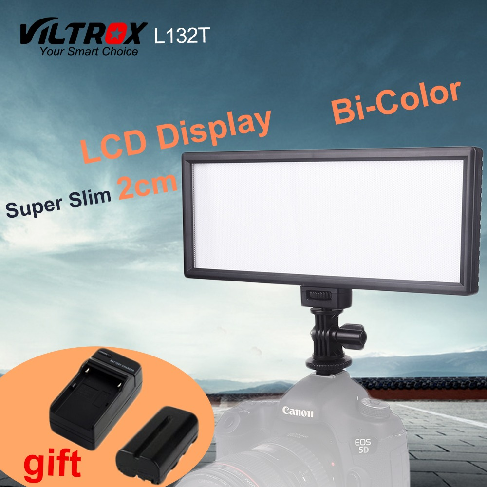 Viltrox L132T LCD Display Bi Color Dimmable Slim DSLR Video LED Light Battery Charger for Canon