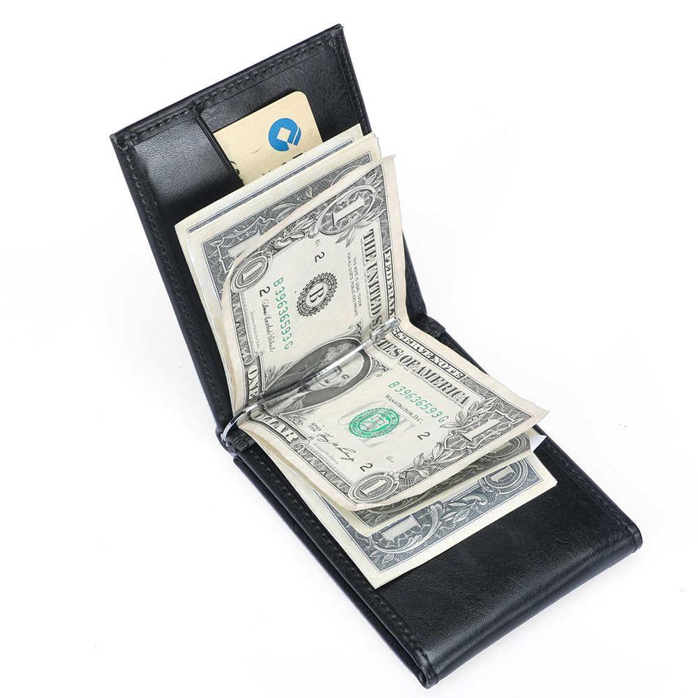 DANJUE Clip de dinero corto de cuero para hombres Rfid bloqueo ID tarjeta de crédito bolsa de negocios hombres dinero bolsa monedero Clip cartera hombre
