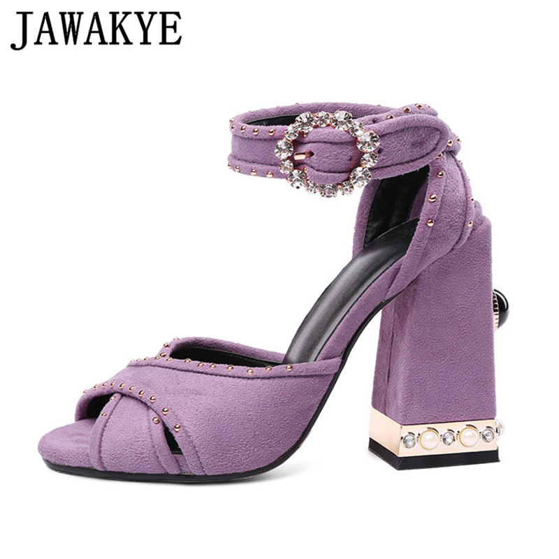 Summer purple black sandals women pearled crystal rivets studded metal high  heels crossover sexy wedding shoes sandalias mujer f03a47205b5e