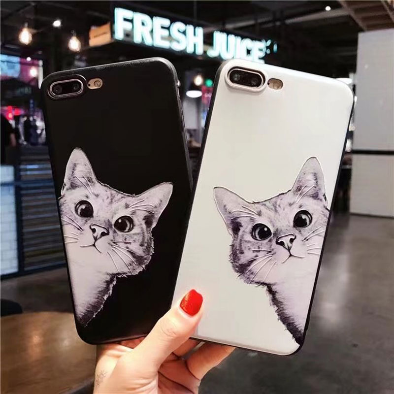 Boucho for <font><b>iphone</b></font> 5 SE 5s 6 6s 7 <font><b>8</b></font> plus <font><b>cases</b></font> luxury cute <font><b>cat</b></font> relief phone <font><b>case</b></font> cover For <font><b>iPhone</b></font> X 6plus 7plus fundas coque image